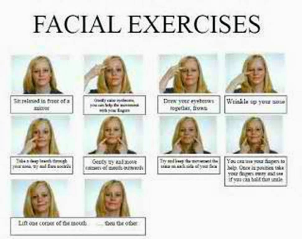 Working out the face with facial muscle exercising and toning